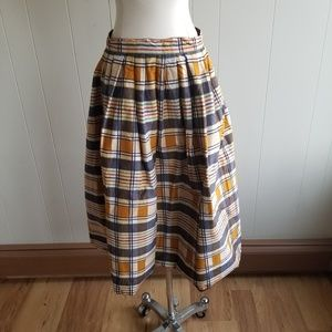 1950s Unlabeled Plaid, Cotton Blend, Pleated Skirt